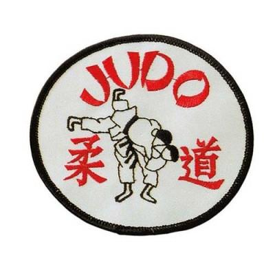 Stoffabzeichen – Judo rund mit Wurf (weiss)