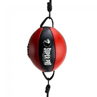 SUPER PRO Doppelendball (Leder, schwarz/rot)